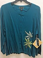 GLOBAL ILLUSION Teal Rayon Embroidered & Embellished Top Blouse Shirt Sz L