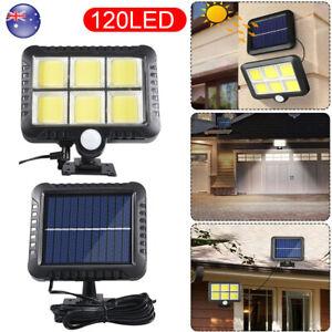 120LED Solar Powered Dual Light Flood Lamp Security Garage Motion Sensor Outdoor