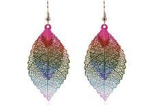 Earring Boho Festival Party Boutique Uk Rainbow Leaf Pink Blue Luxury Fashion