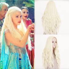 "26""Long Light Blonde Curly Heat Resistant Wavy Cosplay Women Hair Full Wig Wigs"