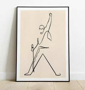 Freddie Mercury Print, Minimal Line Art Print, Freddie Mercury Art Print