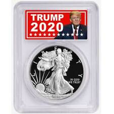 À prova de 2020-W De $1 American Silver Eagle pcgs Pr 70 dcam Trump 2020 etiqueta