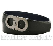 SALVATORE FERRAGAMO black/ blue 38 Micro GANCINI Reversible buckle Belt NWT Auth
