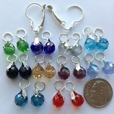 10 Pairs Crystal earring charms, 2 Brass Interchangeable Lever back Hoop Jewelry