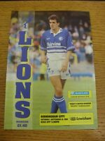 12/09/1992 Millwall v Birmingham City  (Team Changes). Thanks for viewing this i