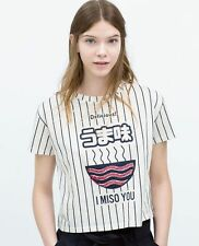 ZARA TRF TRAFALUC I MISO YOU JAPANESE BLOGGERS STRIPE CROP TOP TEE S 8 10!