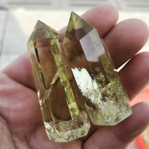 AAA Natural Clear Smoky Citrine Quartz Crystal Point Wand Obelisk Healing Stone