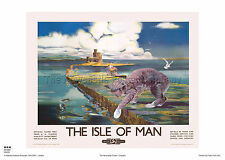 ISLE OF MAN MANX CAT RETRO ART VINTAGE RAILWAY TRAVEL POSTER ADVERTISING