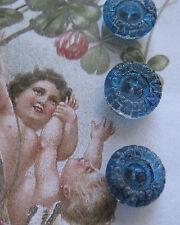 "Set of 6~Vintage 7/16"" Royal Blue Crystal Gem Glass Buttons~New/old stock"