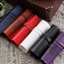 Retro PU Pencil Case Pocket Brushes Holder Long Makeup Bag 1Pcs Cosmetic Pouch