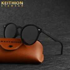 KEITHION Round Polarized Sunglasses Men Vintage Retro Mirrored Driving Eyewear