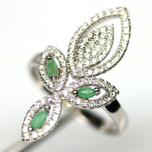 NATURAL GREEN EMERALD & WHITE CZ RING 925 STERLING SILVER SIZE 8