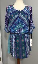 NWT Hale Bob Cold-Shoulder Blouson Bell Sleeve  Printed Dress M