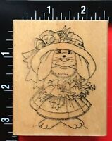 LADY EASTER BUNNY RABBIT DRESS FLOWERS Art Impressions Wood Mounted Rubber Stamp