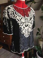 Womens SCALA Sparkle Shiny SHIRT FORMAL WHITE BLACK LARGE Blouse Dressy