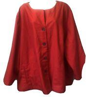 TRAVEL SMITH Women's Plus 3X Red Linen Blend Collarless 4 Button Jacket Blazer