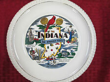 Collector Plate With Gold Trim INDIANA - THE HOOSIER STATE