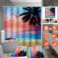 1/3pc Beach Luxury Bathroom Shower Curtain / Bath Mat Toilet Cover Rug Decor Set