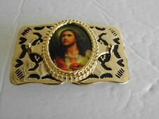 Belt Buckle Jesus God Lord Father Religious Christianity Gold Tone Vintage Nos