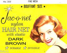 Jac-O-Net #255 Bouffant size Fine Mesh Hair Net w/Elastic (1) pcs. Dark Brown