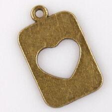 50pcs 145661 Antiqued Bronze Tone Hollow Heart Oblong Tag Charms Alloy Pendants