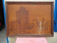 tableau pyrogravure bois La Rochelle Le port 106cm sur 78cm