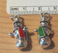 1 Sterling Silver 3D 23x12mm Red Green Scarf Snowman Christmas Charm