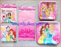 PRINCESS BIRTHDAY PARTY SUPPLIES KIDS GIRLS SET 8 TABLEWARE BAGS PLATES NAPKINS