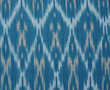 "Teal on Turquoise Artisan Ikat Hand-Woven & Dyed Drapery Fabric Cotton 44"" Wide"