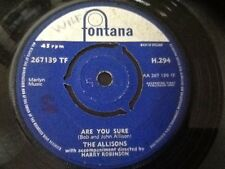 THE ALLISONS . ARE YOU SURE  . 1961 issue U.K. EUROVISON SONG CONTEST ENTRY