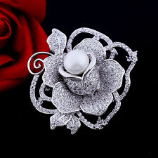 Romantic Jewelry Pave White Pearl Centered Fully Bloom Rose Flower Brooch Silver