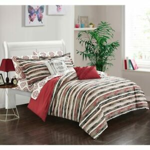 Twin Full Bed Bag Brick Red Brown Pink Southwest Stripe Tribal 9pc Comforter Set
