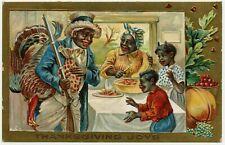 Vintage Black Americana Embossed Thanksgiving Joys Gold Foiled