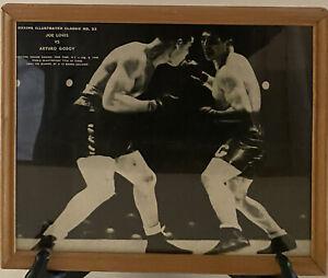 Vintage Boxing Illustrated Joe Louis Vs. Arturo Godoy Feb 9 1940 Framed Picture