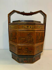 Antique Chinese Signed Wedding Basket Box w/ Painted Lacquered Design
