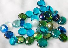 Flattened glass marbles blue green mosaic flat floral pebbles nuggets 37