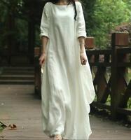 Vintage Womens Cotton Long Dress Linen Long Sleeve Gown Caftan Casual Plus Maxi