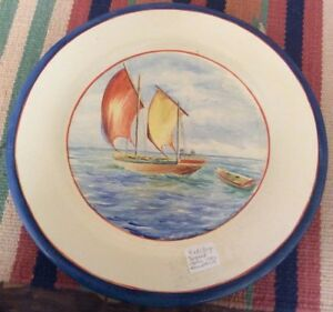 Beautiful Catalina Island Pottery Red Clay Hand painted Chase Rare Scene,