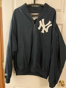 New York Yankees Majestic Pullover Warm up Jacket L 1/4 zip
