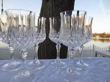 6 Cris D'Arques Longchamp pattern 8 oz.  Wine Glasses / Water Goblets