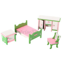 Doll House Miniature Bedroom Wooden Furniture Sets Kids Role Pretend Play Toy RS