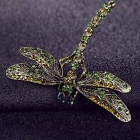 Women Scarf Jewelry Dragonfly Brooch Vintage Crystal Fashion Noble Pin gift hot