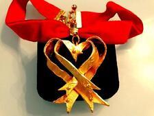 VTG CHRISTIAN LACROIX COUTURE GOLD GILT BYZANTINE HUGE HEART RED VELVET CHOKER