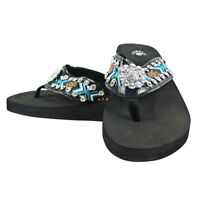 TURQUOISE TRIBAL FLOWER RHINESTONE FASHION FLIP FLOPS ISABELLA BLING SANDALS NEW