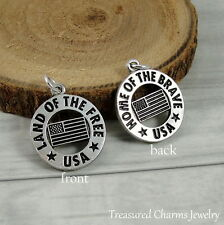 Silver USA Land of the Free Charm - Military Patriotic National Anthem Pendant