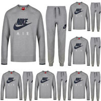 Nike Mens Fleece Full Tracksuit Joggers Air Max Sweatshirts Crew Top Size Grey