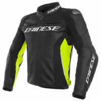 Dainese Racing 3 Motorcycle Motorbike Leather Jacket Black / Black / Fluo Yellow