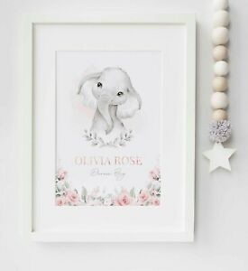 Personalised Elephant Name Birth Baby Nursery Picture Print Poster UNFRAMED