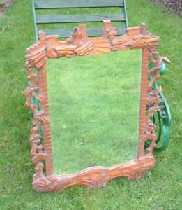 Antique BLACK FOREST  LARGE Mirror  Beautiful  Carved Design