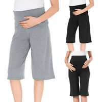 Women Maternity Wide Leg Straight Pants Stretch Solid Pregnancy Trousers Shorts